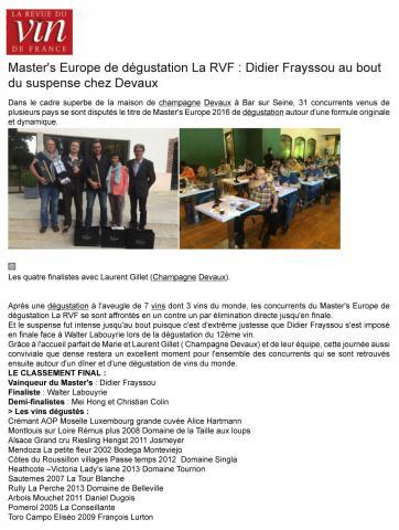 LA RVF - Master's Europe dégustation
